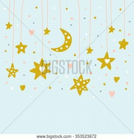Hand Drawn Doodle Cute Stars And Moon On Shread. Nursery Background. Kids Magic Illustration.