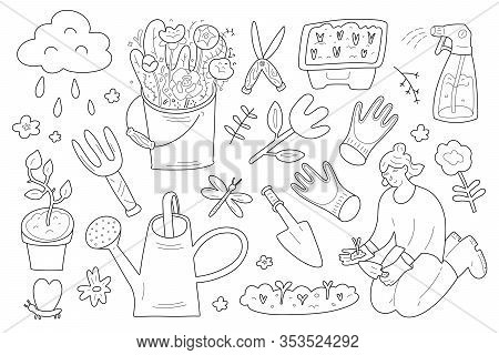 Gardening Collection, Garden Gear, Woman Working In Garden, Doodle Outline Illustration, Collection