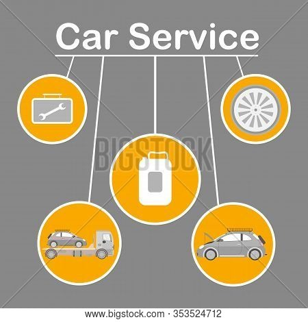 Car Service Options Flat Vector Banner Template. Wide Range Vehicle Maintenance Social Media Post La