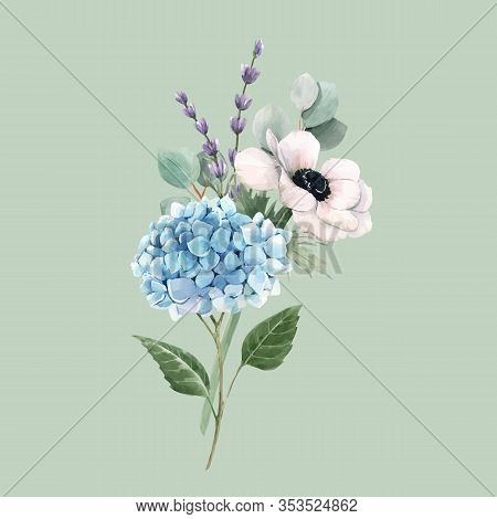 Beautiful Vector Gentle Bouquet With Watercolor Blue Hydrangea Flowers And White Anemones With Lavan