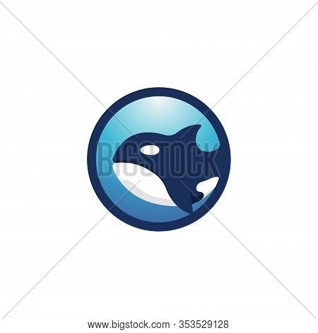 Circle Blue Orca Killer Whale Simple Symbol Logo