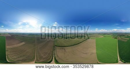 Crossroads In The Middle Of A Large Field. 360 - Degree Panorama.roads In The Field And Meadows. Bea