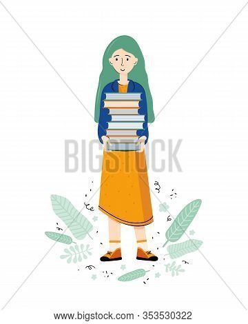 Literary Fan. Smart Young Woman Holds A Large Stack Of Books In Her Hands. Lovers Of Literature. Gir