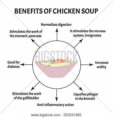 International Soup Day April 5th. Useful Properties Of Chicken Soup. Infographics. Vector Illustrati