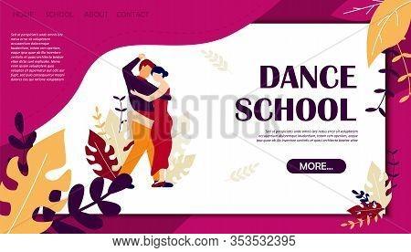 Dance School Banner With Couple Dancing Tango. Man Woman Dancer Training Salsa Vector Illustration.