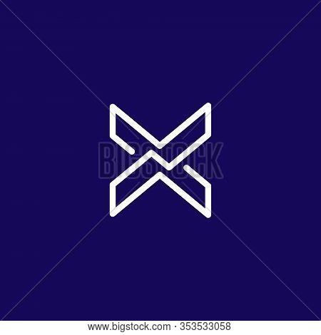 X Logo Initials, Line Art Outline Style