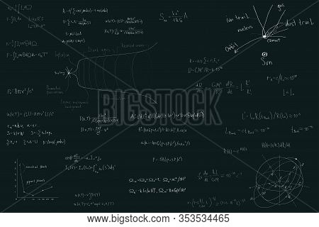Astronomy And Astrophysics, Formulas For Physics Mathematics And Astronomy On A Dark Green Chalk Boa