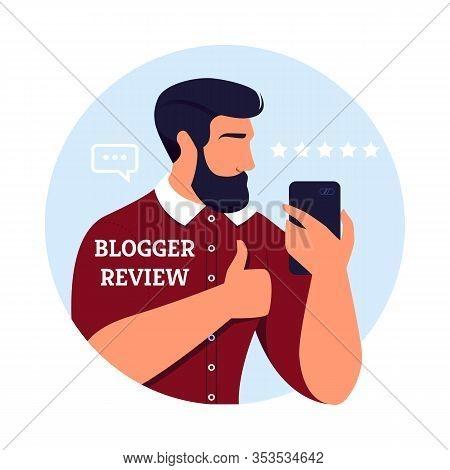 Poster Written Blogger Review Best Burbershop. Handsome Man Advertises Services Hairdresser, Stylist