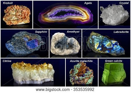 Collage - Set Of Minerals With Names Isolated.