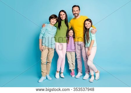 Full Length Body Size View Of Nice Attractive Lovely Charming Ideal Cheerful Cheery Family Pre-teen