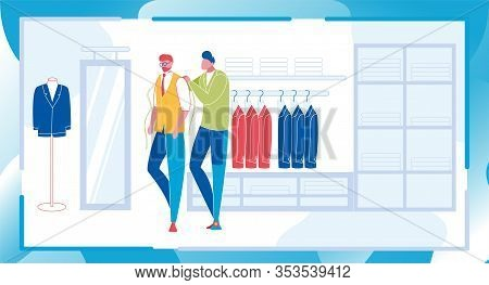 Stylist And Client In Fitting Room Of Store. Worker Helps To Businessman Customer Choosing And Buyin