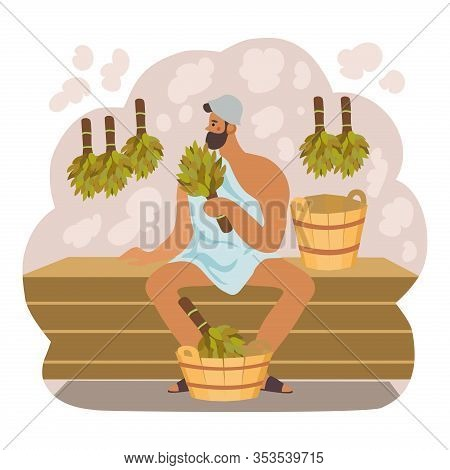 Bath And Sauna Poster With A Man Keeps Broom In Her Hand. Isolated Vector Illustration Flat Style