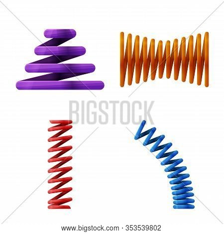 Vector Illustration Of Flexible And Spiral Logo. Collection Of Flexible And Pressure Stock Symbol Fo