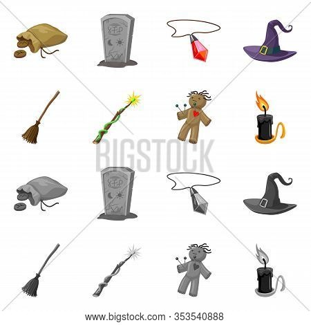 Vector Design Of Witchcraft And Mystic Sign. Collection Of Witchcraft And Magic Vector Icon For Stoc