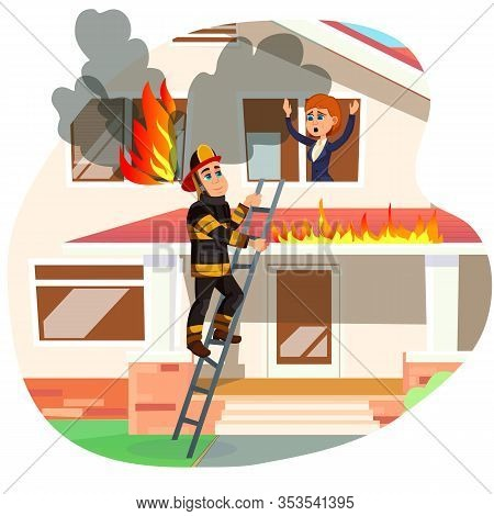 Focused Professional Firefighter In Protective Clothing, Climbing Ladder, Going To Reach Woman, Call