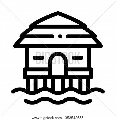 Bungalow House On Water Icon Thin Line Vector. Bungalow Beach Building, Seaside Wooden Construction