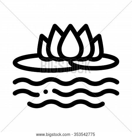 Lotus Nation Thailand Flower Icon Thin Line Vector. Flower On Sea Or Lake Water, Thai Aromatic Plant