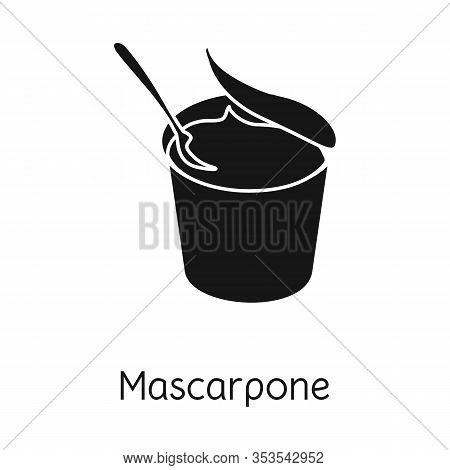 Isolated Object Of Mascarpone And Cheese Icon. Graphic Of Mascarpone And Meal Stock Symbol For Web.