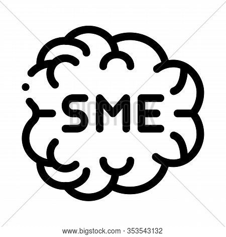 Human Brain Sme Business Icon Thin Line Vector. Sme Direction Of Thinking, Mind Anatomy Organ Concep