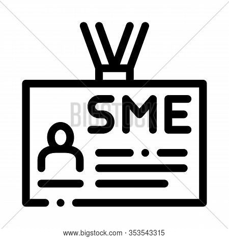 Sme Worker Badge With Photo Icon Thin Line Vector. Company Badge, Pass Document With Employee Inform