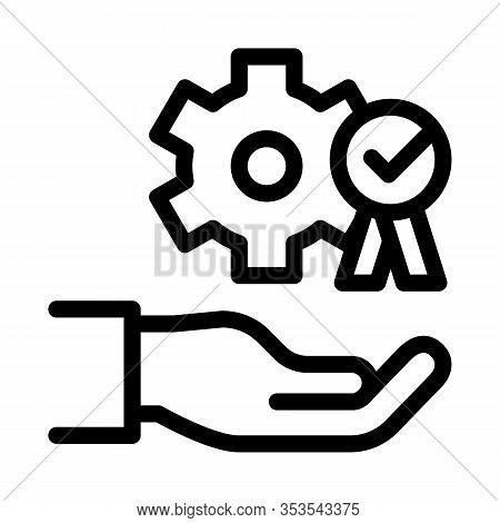 Hand Holding Gear And Medal Icon Thin Line Vector. Process For Goal Achievement, Victory Medal And R