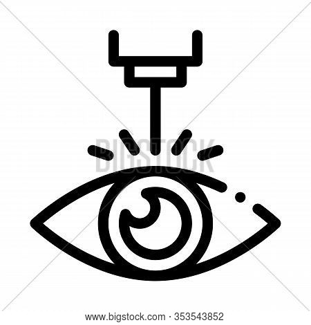 Eye Laser Correction Device Icon Thin Line Vector. Medicine Clinic Optometry Ray For Correct Eye Vis