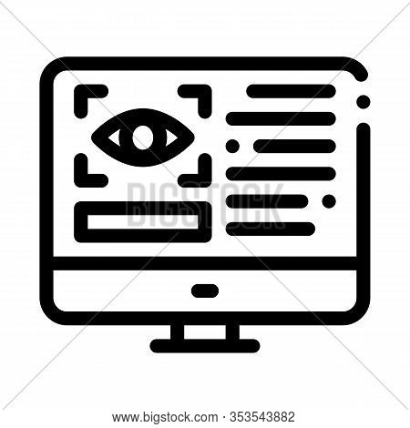 Optometry Online Information Icon Thin Line Vector. Eye And Info On Computer Display Optometry Info