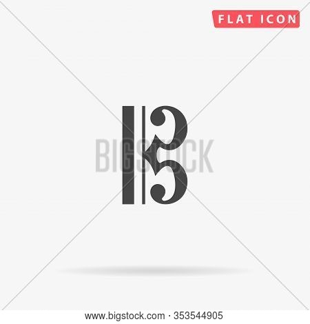 C Clef Flat Vector Icon. Glyph Style Sign. Simple Hand Drawn Illustrations Symbol For Concept Infogr