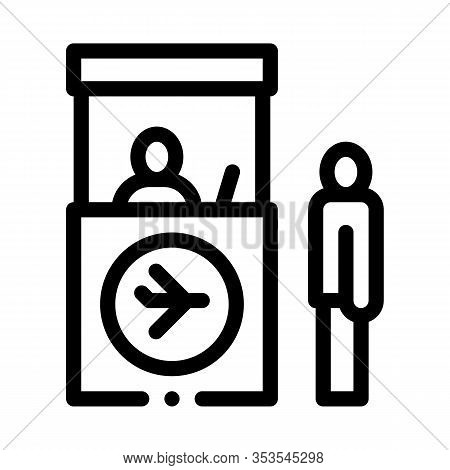 Passport And Customs Control Icon Thin Line Vector. Immigration Officer And Human Passenger On Secur
