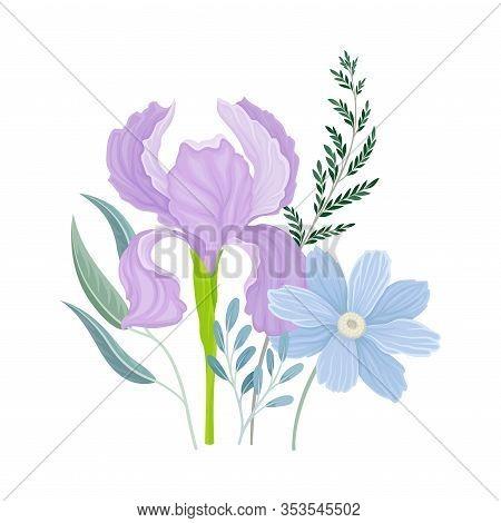 Flower Arrangement With Open Iris Bud On Green Erect Stem Vector Illustration