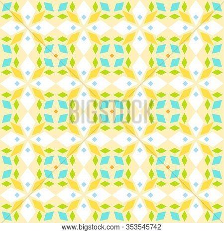 Kaleidoscope, Seamless Pattern, Geometric, Yellow, Vector. Geometric Pattern. Multicolored, Flat Vec