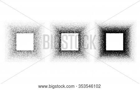 Grunge Spray Stencil Square Frames. Gradient Ink Splatter Dots Template. Cube Graffiti Black Halfton