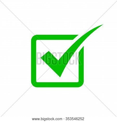Tick Symbol In Green Square, Checkmark In Checkbox Vector Icon. Yes, Right Or Ok Tick Check Mark Wit