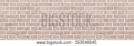 Wide Light Rough Brick Wall Texture. Old Masonry Widescreen Backdrop. Beige Brickwork Panoramic Vint