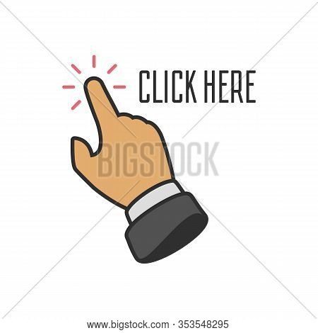 Click Here Button With Hand Pointer Clicking. Vector Click Web Sign Cursor Symbol. Illustration In F
