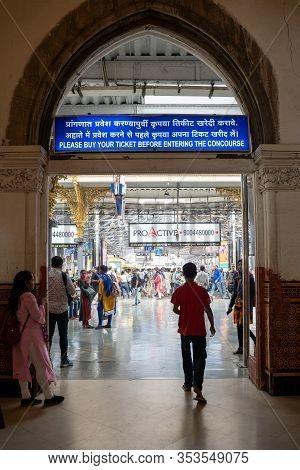 Mumbai, India - February 29, 2020: The Hustle And Bustle Inside Chatrapati Shivaji Terminus Earlier