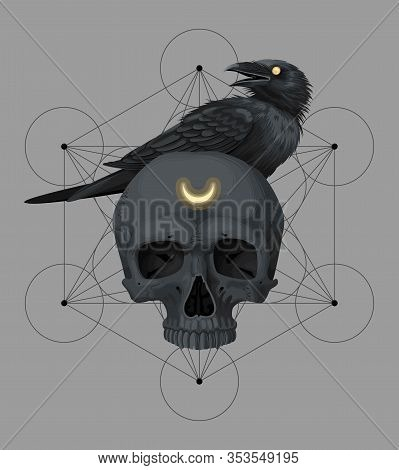 Vector Card With Black Skull And Raven
