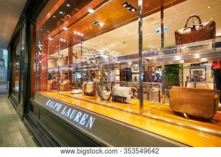 HONG KONG - JANUARY 20, 2019: Ralph Lauren storefront in Hong Kong. Ralph Lauren Corporation is an American fashion company producing products ranging from the mid-range to the luxury segments..