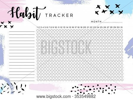 Habit Tracker. Monthly Planner Habit Tracker Blank Template. Monthly Planer.