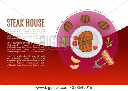 Steak And Grill House Menu Vector Illustration Poster With Fork And Bbq Roaster And Potato Chips. Ca