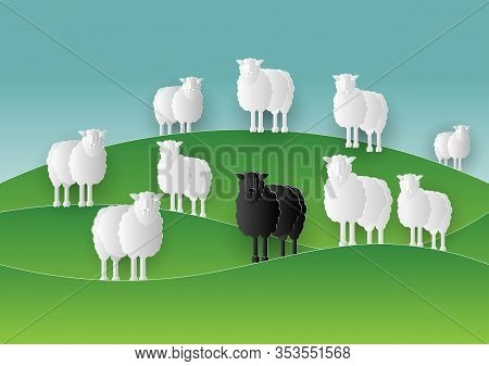 Black Sheep Stand In Middle Of White Sheep Group In Paper Cut Style. Lamb Family Farm. Papercut Of D