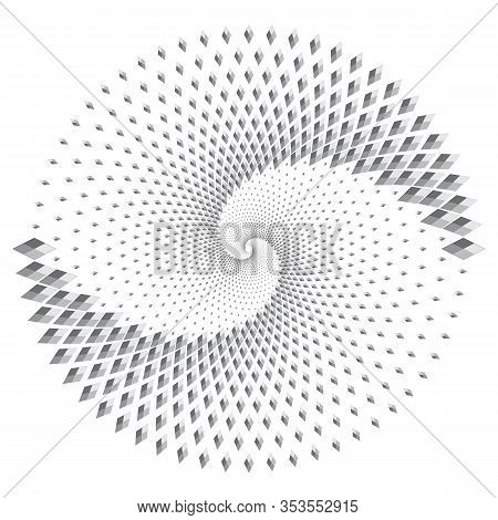 Dotted Halftone Vector Spiral Pattern Or Texture. Stipple Dot Backgrounds With Rhombus