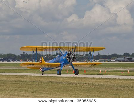 Us Army Bi Plane Fighter Starting On Runway