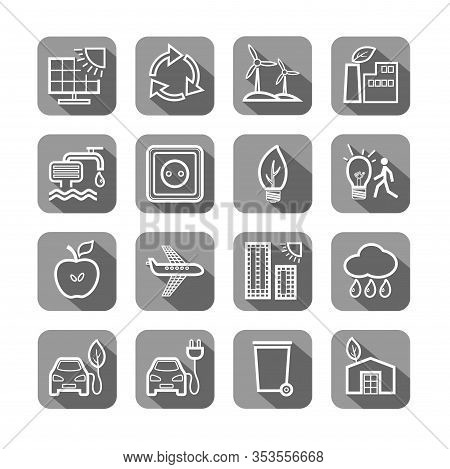 Eco-friendly Technology, Icons, Line Drawing, Set, Vector. Environmentally Friendly Production Of El