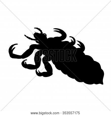 Louse Silhouette Isolated On White Background. Vector.