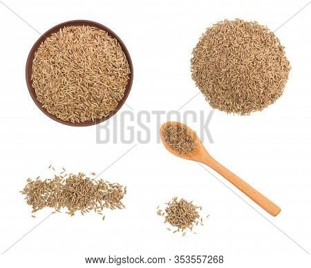 Set Of Spice Cumin (jeera) Isolated On White Background In Wooden Spoon, Bunch, Clay Plate