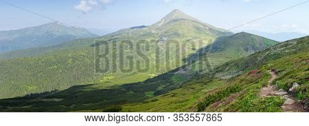 Part Of Chornohora Range With Some Of The Highest Peaks - Petros And Hoverla In Summer Day. Panorami