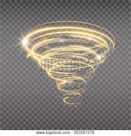 Golden Tornado, Swirling Storm Cone Of Stardust Sparkles On Transparent Background. Golden Spiral Wi