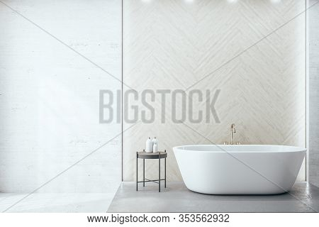 Modern Bathroom Interior Room With Decorative Objects And Blank Wall. Style And Hygiene Concept. 3d