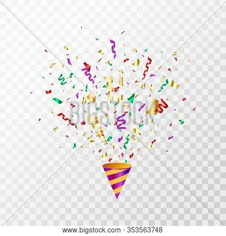Colorful Confetti Flying On Transparent Background. Party Cracker With Color Confetti, Serpentine. B